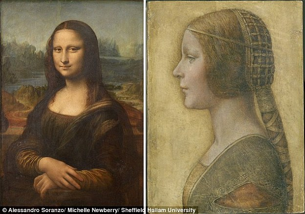 The study reveals how La Bella Principessa (pictured right), painted by da Vinci before he completed the Mona Lisa (left) in the late 15th Century, uses a clever trick to lure in the viewer