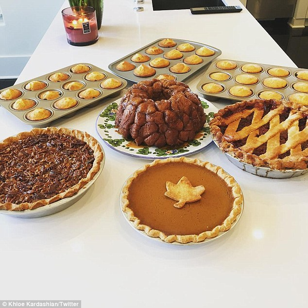 Exact replica: The Keeping Up With The Kardashians star even laid out the pecan, pumpkin and cherry pies in the same way as the bakery's website