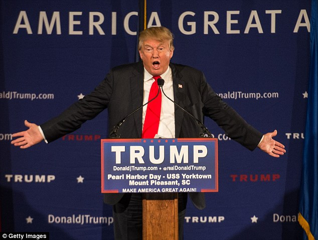 Providing leadership: Republican presidential candidate Donald Trump speaking on Monday night