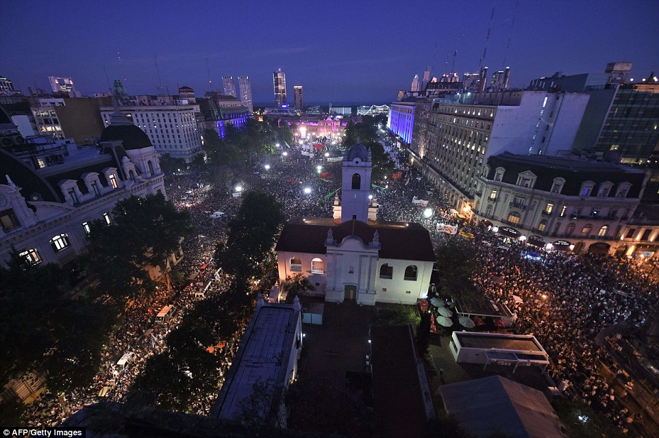 Tens of thousands of supporters cram into Argentina's most famous square  to say goodbye to President Cristina Fernandez de Kirchner