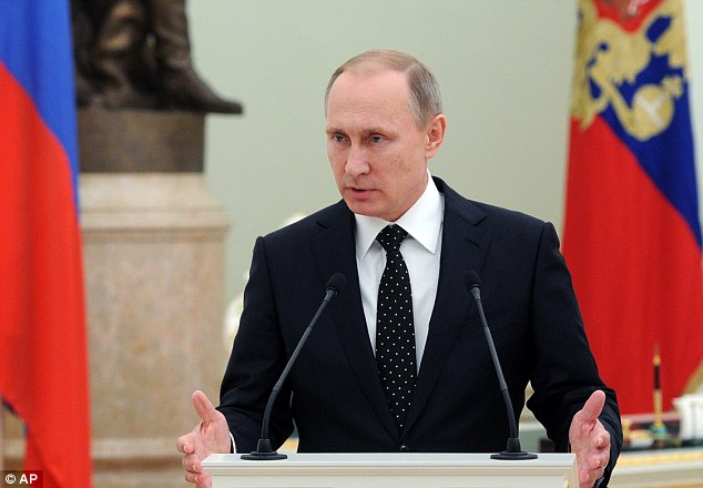 Russian President Putin, pictured, has said Russia's military will be able to 'immediately destroy' any threat