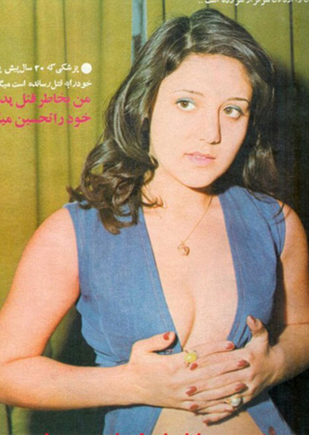 The images show fashions worn before the Islamic Revolution of 1979, when Iran was more Western oriented, a model is pictured in a waistcoat which she holds together with her hands