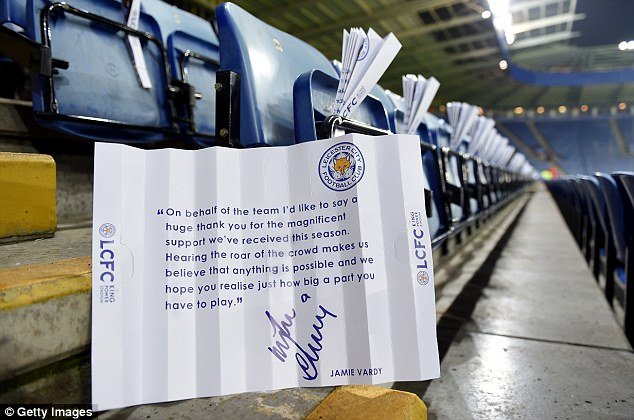 The in-form striker has written a message on clappers for Leicester fans for the match against the champions