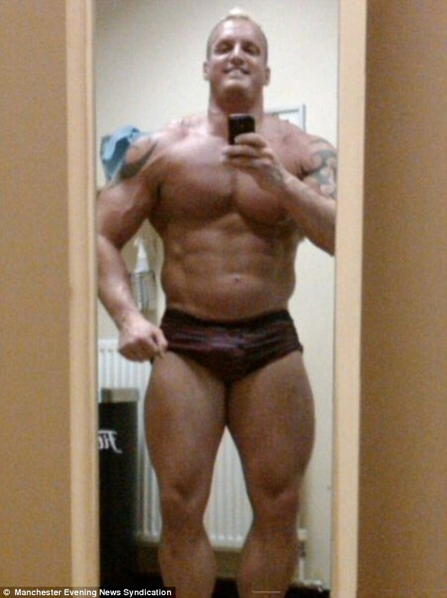 Peak of his powers: Dean Wharmby, pictured, when on steroids and at the top of his bodybuilding game