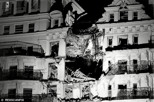 Jonathan Woods, a former Met Police anti-terror officer, has died from lung cancer after being exposed to asbestos at the scene of the deadly IRA explosion at the Grand Hotel in Brighton on October 12, 1984 (above)