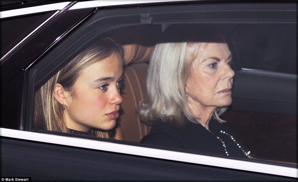 Lady Amelia Windsor, 20 (left), is the granddaughter of the Queen's cousin Prince Edward, Duke of Kent, pictured with her grandmother the Duchess of Kent (right) arriving at the Queen's Christmas lunch
