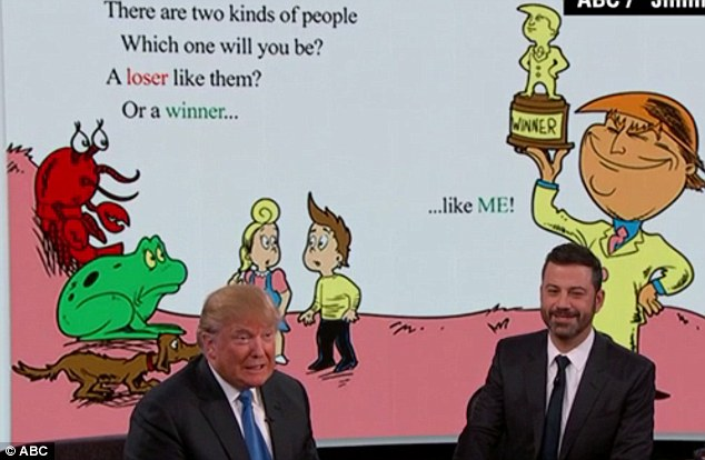 Image result for kimmel trump seuss book winners