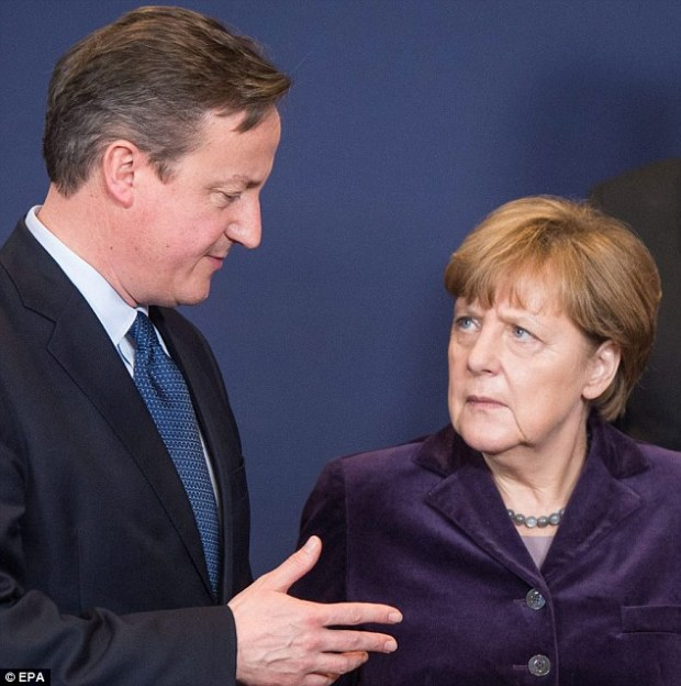 David Cameron meets with Angela Merkel at an EU summit in Brussels. Last night he was forced to retreat on migrant benefits after facing a barrage of protest from more than a dozen EU leaders