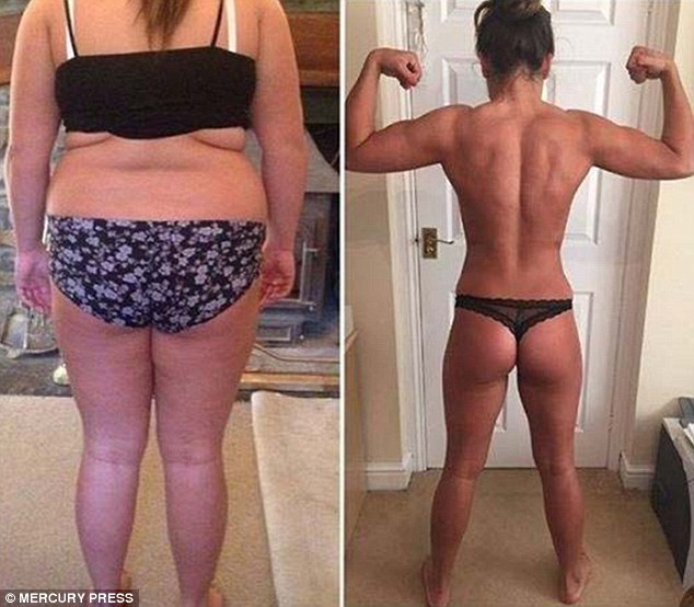Abigail claims she slimmed down to a size 6 after losing half her body weight in just six months - this is one of the before and after composites that social media trolls accused her of 'Photoshopping'