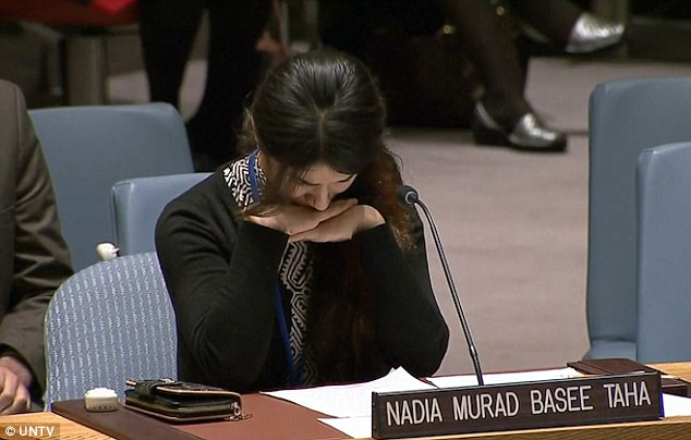 Devastated: Nadia was visibly affected while relating her horrific tale, in which she was held for three months by a member of the terror group, beaten, humiliated and raped