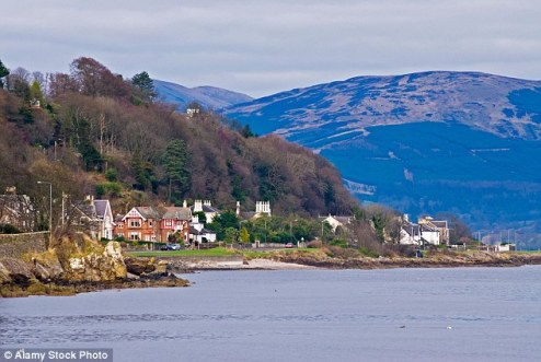 Idyllic: The seafront at Ascog near Rothesay, on the east coast of the isolated and tiny Isle of Bute, nicknamed the 'Madeira of Scotland'