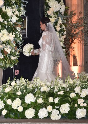 Blooming beautiful: The couple chose florist Rob Van Helden for their flowers, a favourite with the likes of Elton John and members of the Royal Family