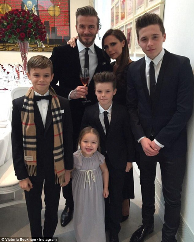 Happy family: Speaking on BBC Breakfast on Monday , David offered a rare insight into his life with fashion designer wife Victoria, 44, and their children children Brooklyn, 16, Romeo, 13, Cruz, 10, and Harper, four