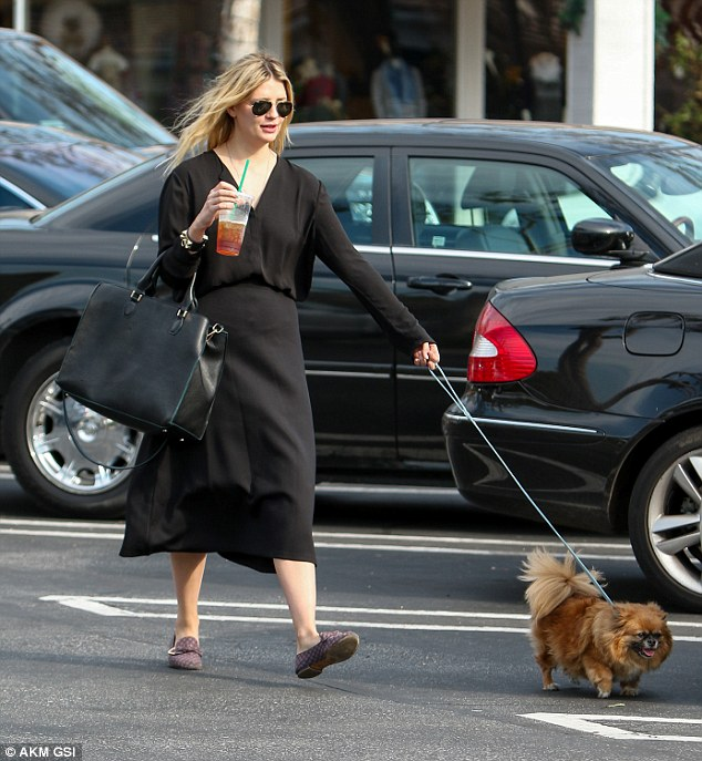 Feisty little fellow: Mischa let her Pomeranian-Shih Tzu mix do the leading as the pair strolled across the car park at Beverly Glen Circle shopping center