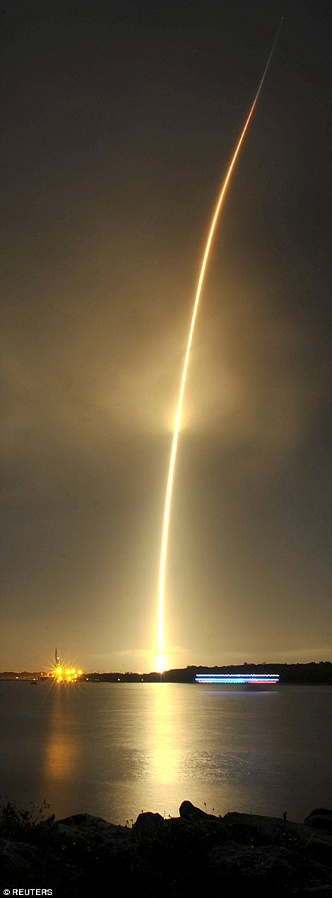 The SpaceX Falcon 9 lifts off from its launch pad