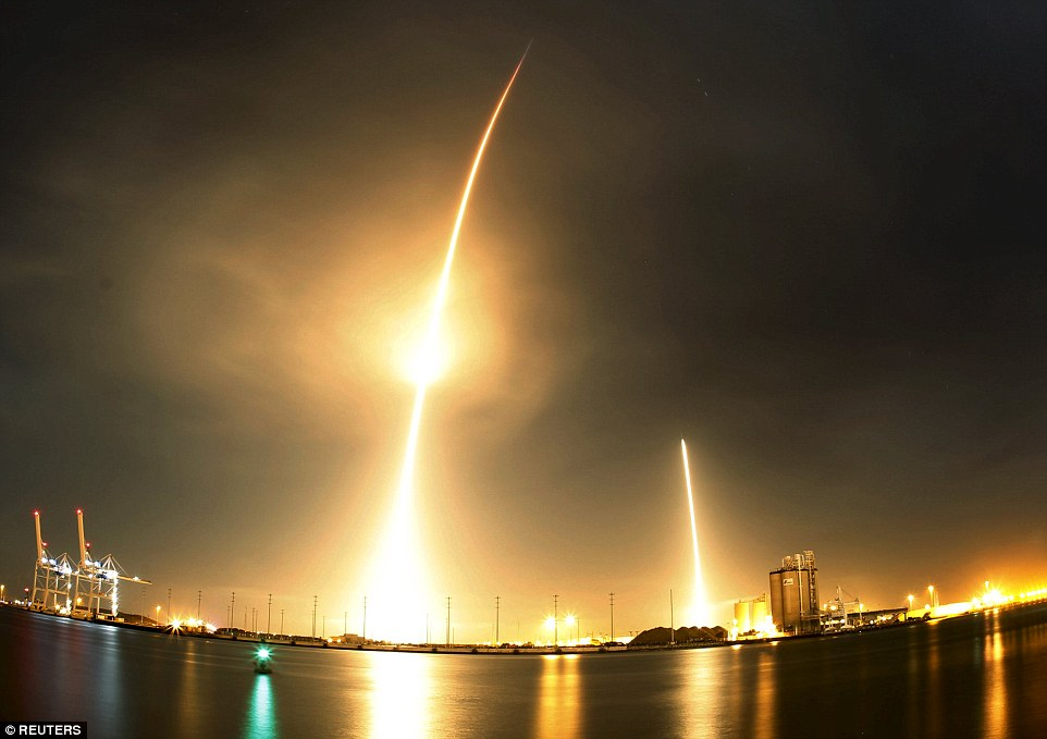 The spectacular take-off (left) and landing (right), shown in this long-exposure picture, was the launcher's first mission since a June failure