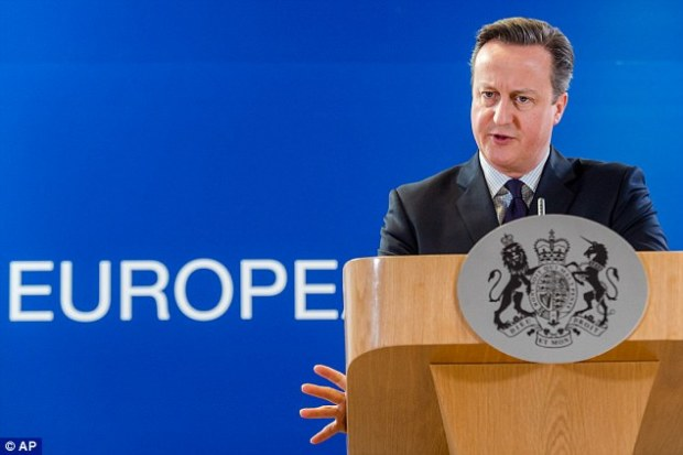 Prime Minister David Cameron addresses the media after an European Union summit in Brussels where he is campaigning for reforms to the EU