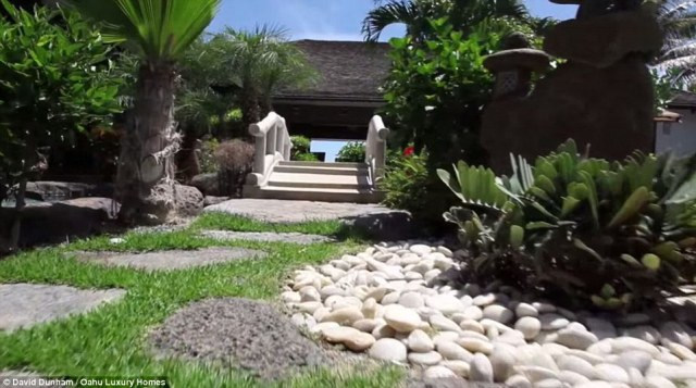 Garden: The home has element of an Asian inspired garden such as smooth stones and a tiny bridge. Although some expenses - including the rent - are paid for privately, the emergency personnel and daily expenses of Obama's security detail are all publicly-funded