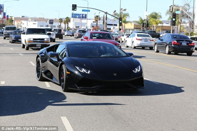 Hot wheels: The rapper took the Aventador model for a spin