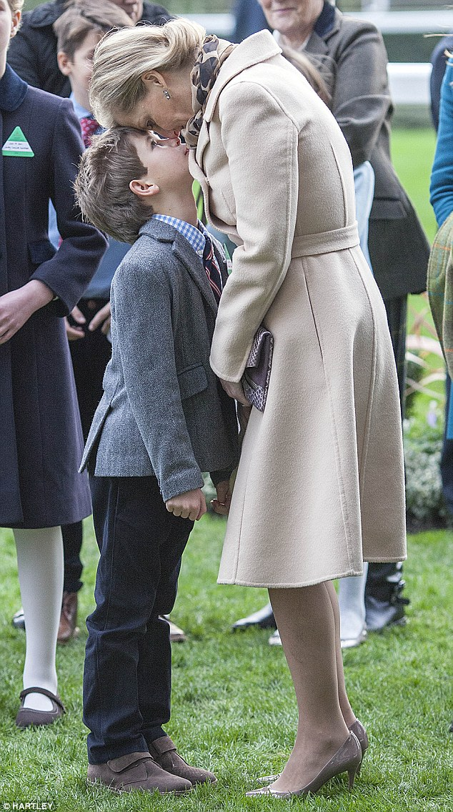 Sophie Wessex has banned her eight-year-old son, pictured together at the races on December 19, from all shoots to protect him from any unwanted attention
