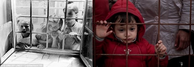 No entry: Circa 1946 in Greece, girls peer through the window of a schoolhouse where a medical clinic has been set up (left). In 2015 in the former Yugoslav Republic of Macedonia, a small child refugee stands with adults at a wire fence in Gevgelija, stranded at the main entry point to the country