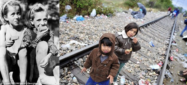 Rations: Circa 1946 in Greece, displaced girls enjoy a ration of 'halva', a nourishing mixture of semolina flour, olive oil or margarine, and sugar (left). In 2015, a child refugee eats a snack standing on a railroad track near Gevgelija, on the border with Greece