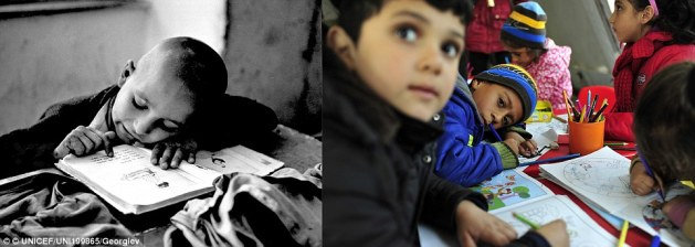 Education: A boy refugee reads a book in Greece circa 1955 (left). Children draw in a UNICEF-supported child friendly space, equipped with educational materials and toys for children passing through Preševo, exhausted from their long journeys, in Serbia in 2015.