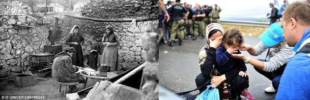 Aid: A humanitarian worker conducts a nutrition survey with a family in an outdoor kitchen area, in the heavily war-damaged village of Lika in Yugoslavia, circa 1945 (left). In the former Yugoslav Republic of Macedonia, a UNICEF translator dries the tears of a crying girl in Gevgelija in 2015