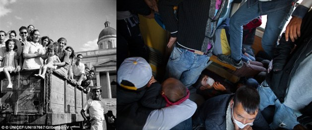 Travel: In Greece circa 1946, children orphaned by the war, wait in a truck journeying to adopting families (left). In 2015, a boy tries to sleep on a crowded train travelling toward the Serbian border from Gevgelija. Both then and now, integrating refugees into new communities is critical