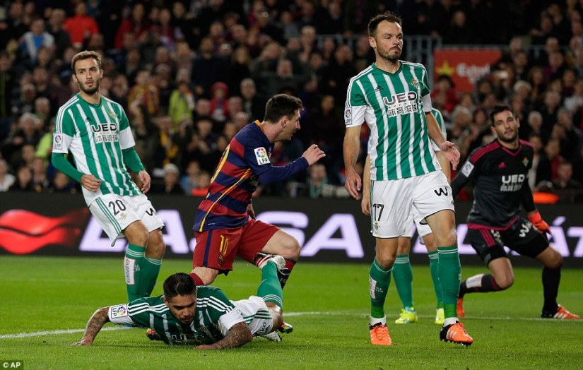 Barcelona superstar Messi wheels away to celebrate after linking up well with Neymar to score his side's second goal of the match