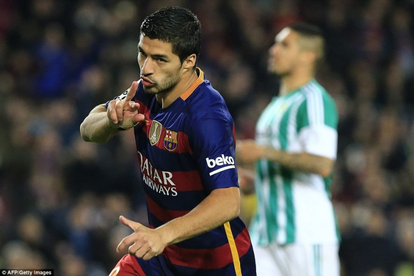 Suarez joined in on the act just a minute after the restart to add a third goal for Barcelona in Wednesday's La Liga clash