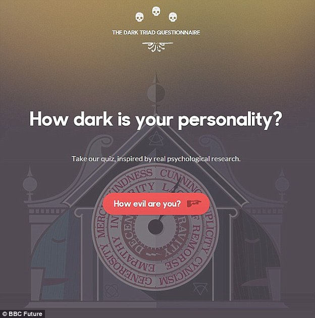 The quiz tells users just how 'evil' they are by asking a series of personality questions. The title page of the quiz is shown above. It measures Machiavellian, narcissistic and psychopathic traits to tell users whether they are 'occasionally vile' or 'decidedly dastardly' for example