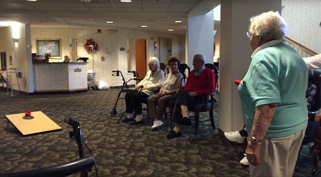 Watch Elderly mother in nursing home tosses bean bags