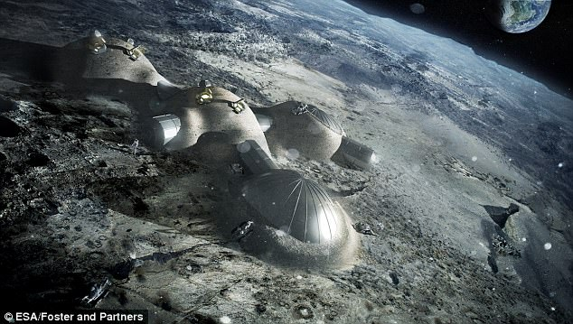 China is talking with the European Space Agency about collaborating on a human settlement on the moon. Pictured is an artist's illustration released by the ESA last year