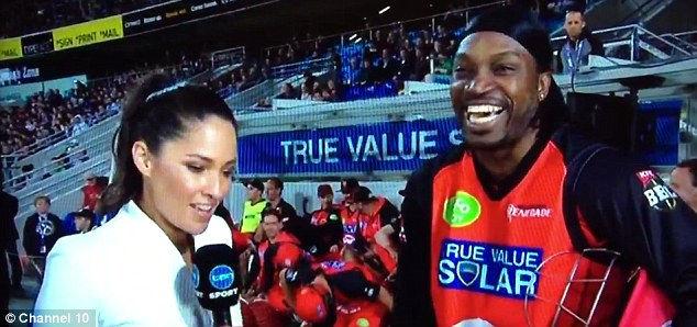 West Indies cricketer Chris Gayle has come under fire for 'sleazy' remarks made during an interview with Channel 10 host and reporter Mel McLaughlin during a Big Bash League match