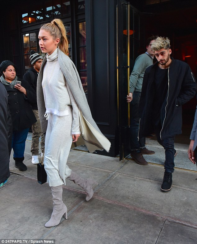 Dark and bright looks: Gigi Hadid and Zayn Malik were spied looking every inch the superstar duo as they departed their hotel in the Big Apple looking ready for a day on the town