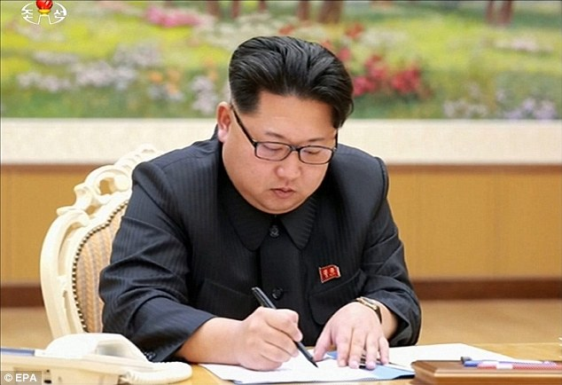 Pyongyang confirming this morning's detonation ends weeks of speculation that leader Kim Jong-Un had developed such a weapon. He is photographed here signing the order to conduct the hydrogen bomb test