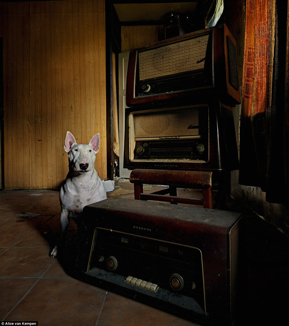 'This type of photography is totally different to what I'm used to do,' Alice added. (Pictured: Claire beside an old music player in Belgium)