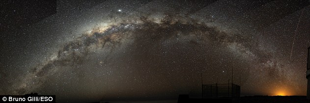 Our solar system sits on one of the spiral arms of our galaxy (pictured above Paranal, Chile), but astronomers have found the gas in the outer regions of the Milky Way's disk are left with ripples much like seismic waves