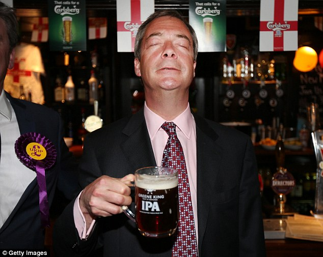 'Tired':Last night Godfrey Bloom, an ex-MEP and former Brussels flatmate of Mr Farage (pictured), said the leader's blustering performance showed he was 'tired'