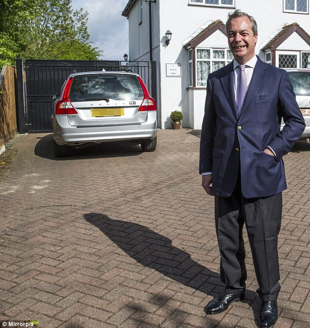 Victim: Nigel Farage (pictured at his home in Kent) claimed he was a victim of an assassination attempt after he crashed on a French motorway, when a wheel came off his Volvo, but has since denied making the claim