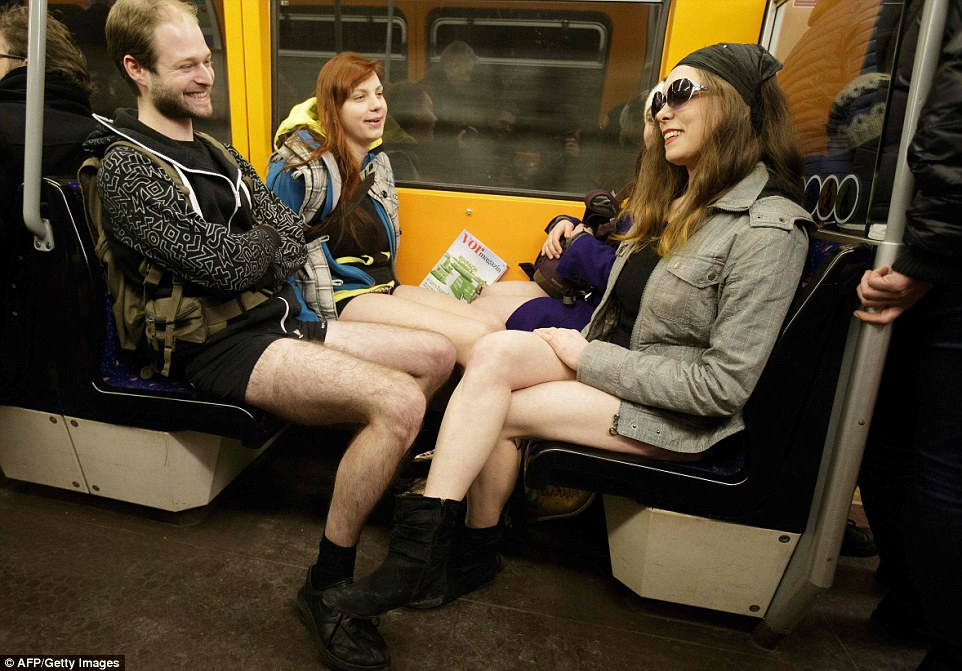 No extra legroom: In Vienna, Austria, people rubbed knees as they bound from one station top the next without trousers