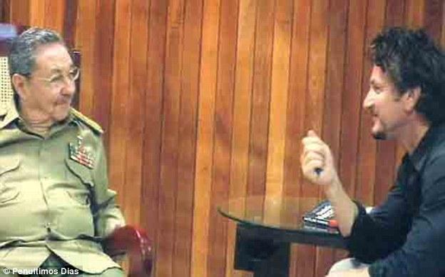 Sean Penn pictured interviewing Cuba's Raul Castro in 2008