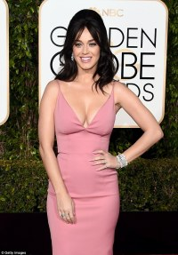 Katy Perry wears a low-cut dress on the Golden Globes red ...