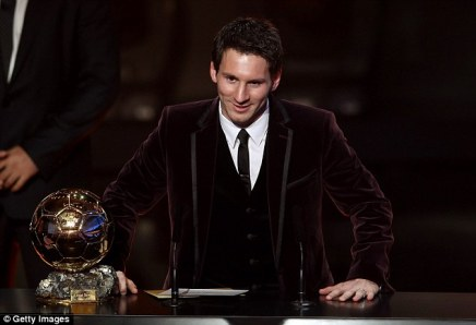 Messi opted for a burgundy velvet suit when he was named as the world's best player for a third time in 2011