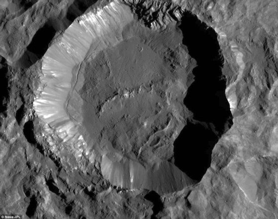 Shown here is one of the youngest craters on Ceres known as 'Kupalo'. The crater has bright material exposed on its rim and walls, which could be salts. Its flat floor likely formed from impact melt and debris. Kupalo, which measures 16 miles (26 km) across and is located at southern mid-latitudes, is named for the Slavic god of vegetation and harvest