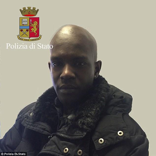 Acusado: Cheik Tidiane Diaw, de 25 años, se encuentra detenido en Italia bajo la sospecha de estrangular Olsen después de salir de un club de sexo con ella en Florencia el viernes.