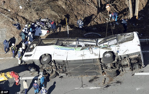 14 people have been killed and 41 are injured - including 19 in a critical condition - after a tourist bus crashed in Japan, travelling from Tokyo to a ski lodge