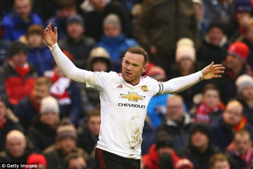 Wayne Rooney celebrates his 78th minute winner in Manchester United's 1-0 victory over Liverpool