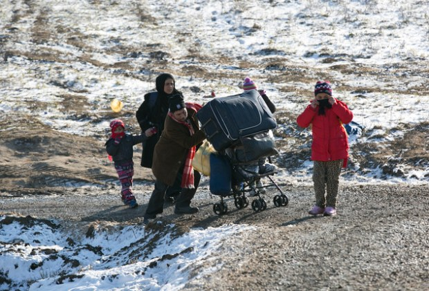 Tusk's comments came amid fears for migrant children trudging across Europe in -20C temperatures